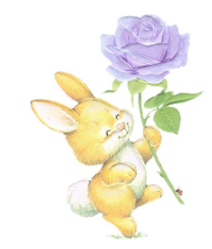 богат открытка заяц с букетом цветов работы