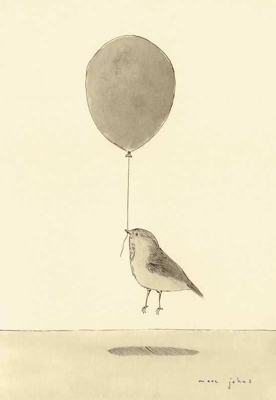 bird with a balloon Art Print