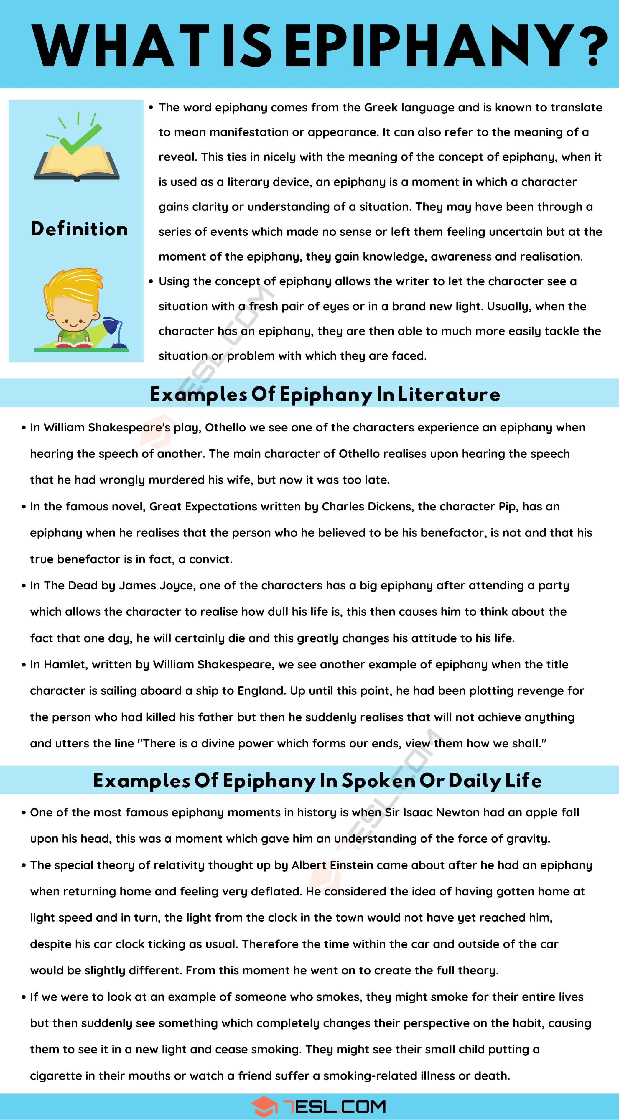 Epiphany Definition And Example In Spoken Language Literature 7esl 2021 Essay Writing Skill Teaching English Vocabulary Words On Smoking Cigarettes