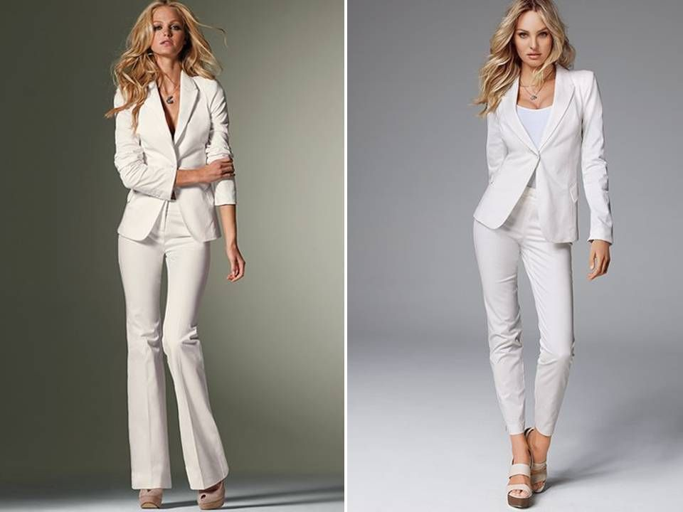 ON THE RIGHT> White tailored suits for the high-fashion bride from ...