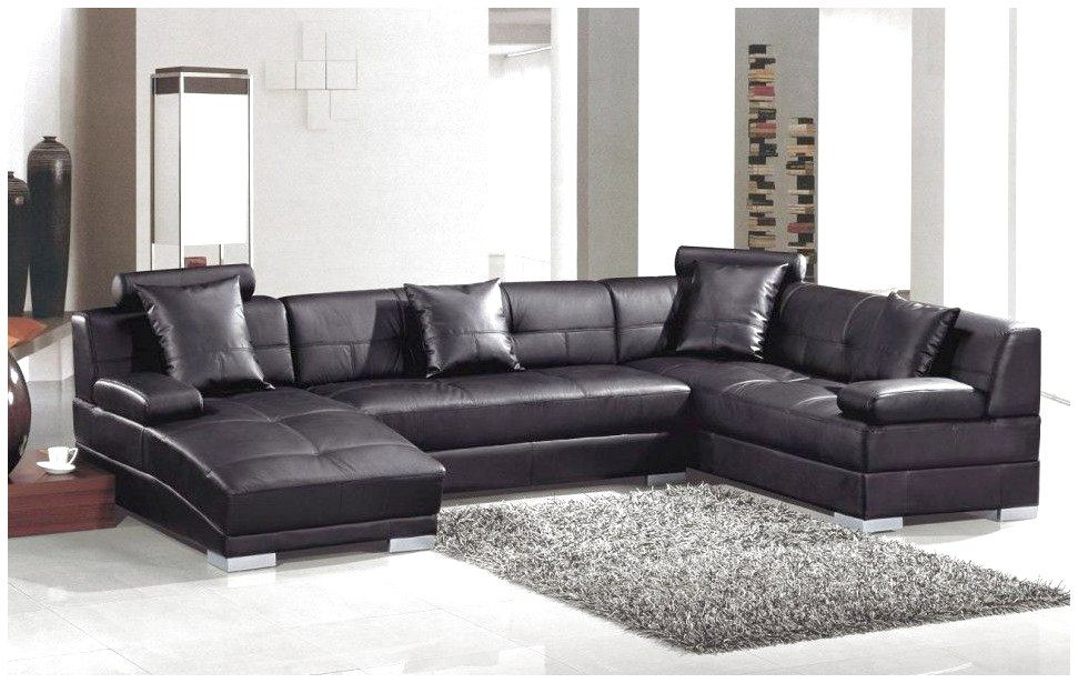 Fabulous Living Room Interior Design With Black Sofa Feature Comfortable U Shaped Black Leather Comfy Modern Sofa Sectional Leather Sectional Sofas Sofa Design