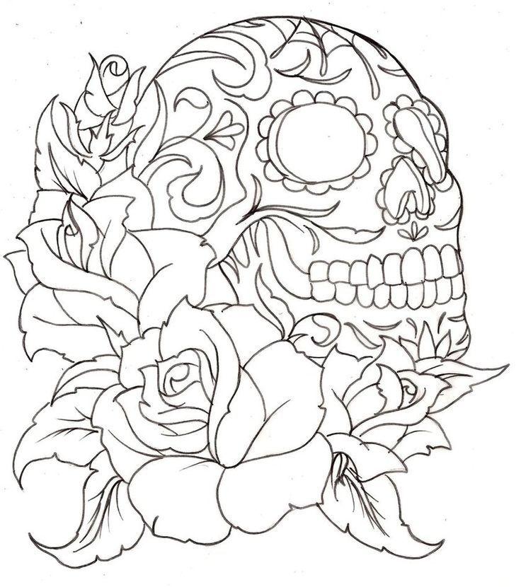 flower with skull | Embroidery | Pinterest | Flower, Sugar skulls ...