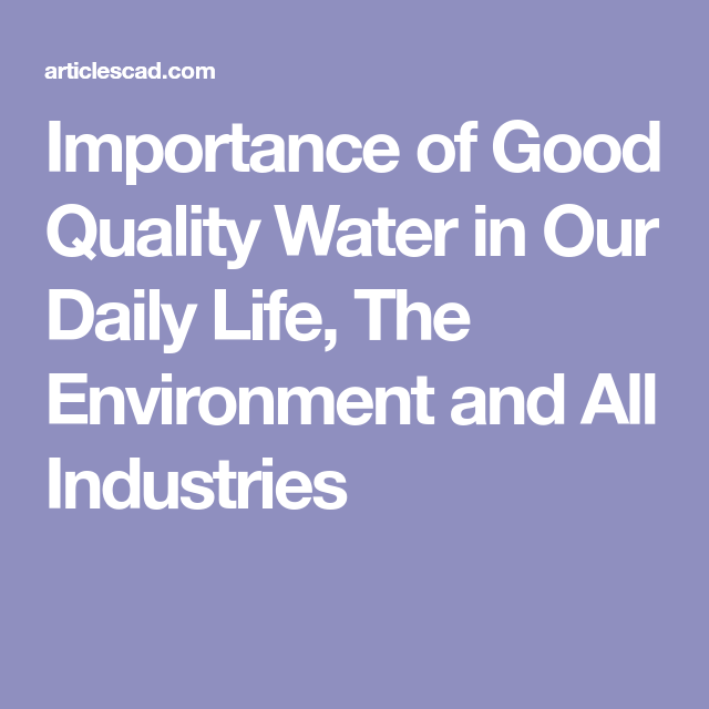 the importance of water in our daily life