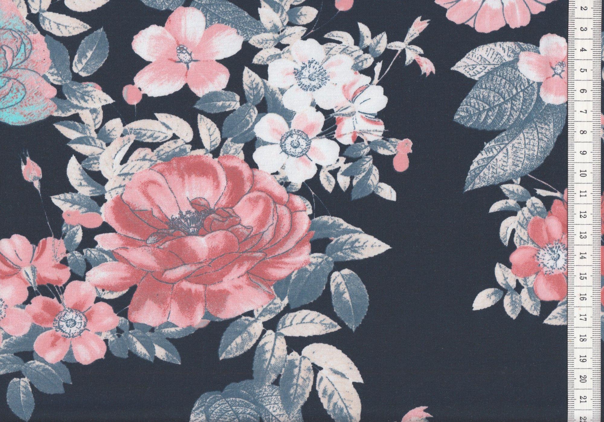 Jersey Blumen Rosen Dunkelblau Grosses Muster Oko Tex 100 Stoffe Jersey Muster Blumen Rosen Muster Stoff Stoff