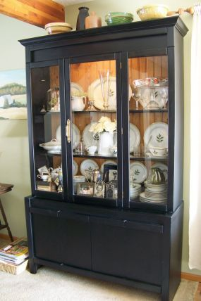 china cabinet makeover-I like the natural wood still there, unpainted
