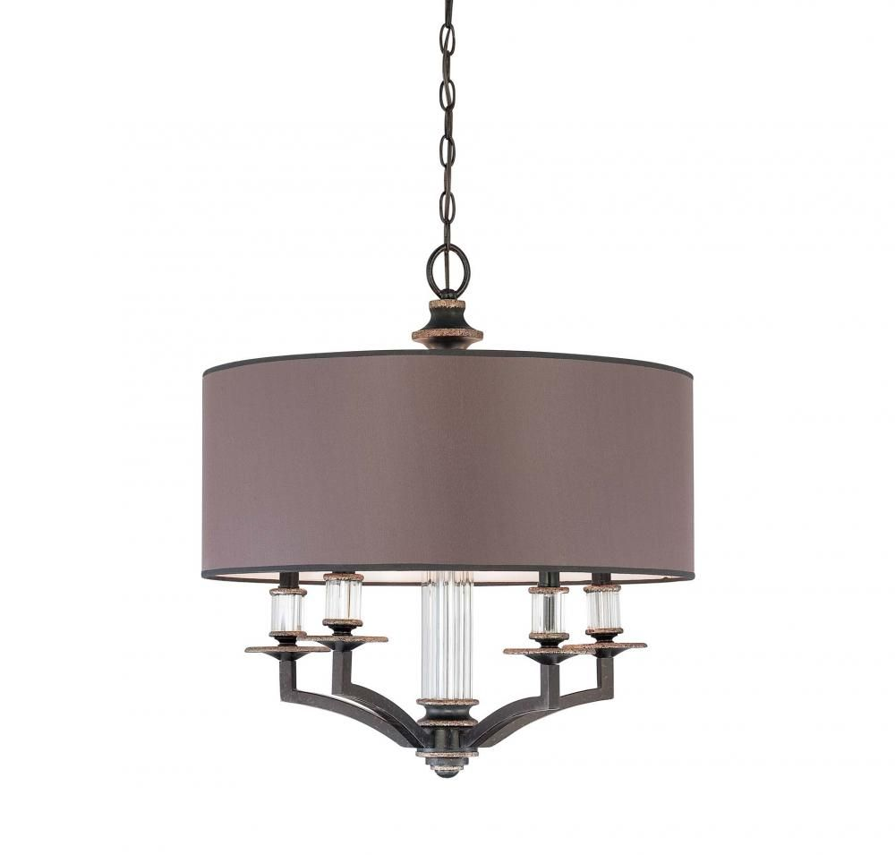 Five Light Distressed Bronze Charcoal Fabric Shade Drum Shade – Bronze Chandelier with Shades