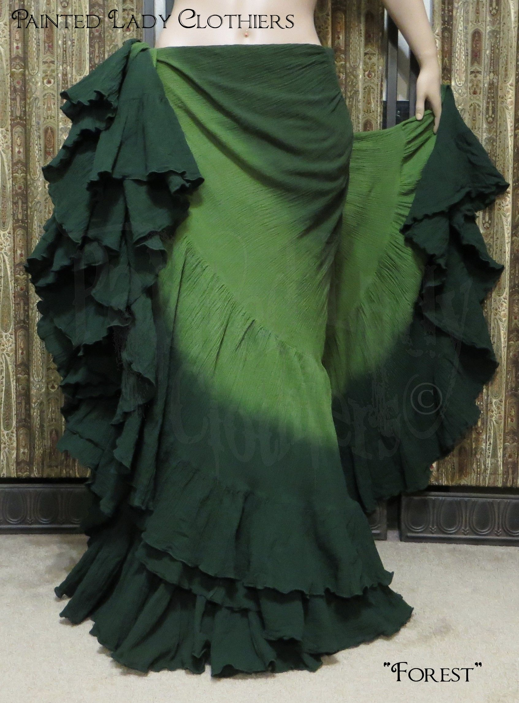 "25 Yard Skirt ""Forest"" color palette by Painted Lady Clothiers  http://www.paintedladyemporium.com/Shop-Here.html"