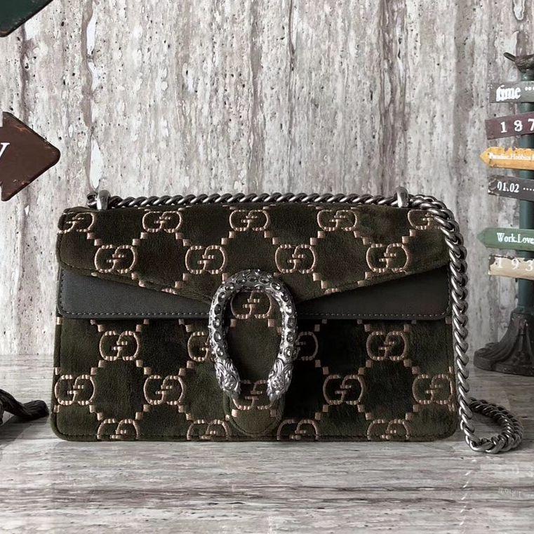 73474337f4d Gucci Dionysus GG Velvet Small Shoulder Bag 499623 Olive 2018 ...