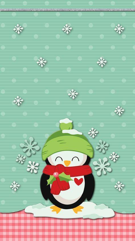 Winter Penguin Wallpaper Iphone Android Cute Cute Christmas Wallpaper Holiday Wallpaper Penguin Wallpaper