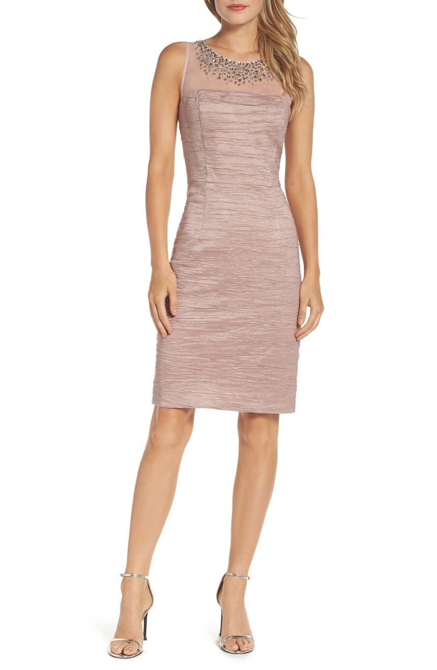 Main Image - Eliza J Metallic Sheath Dress (Regular & Petite ...