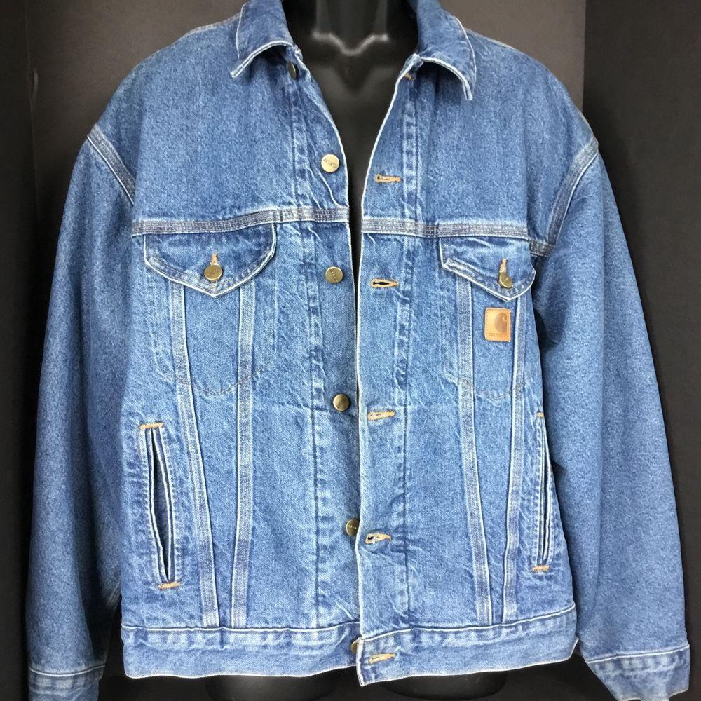 Carhartt Trucker Jean Jacket Mens Large Flannel Blanket Lined Denim Pockets USA  #Carhartt #JeanJacket