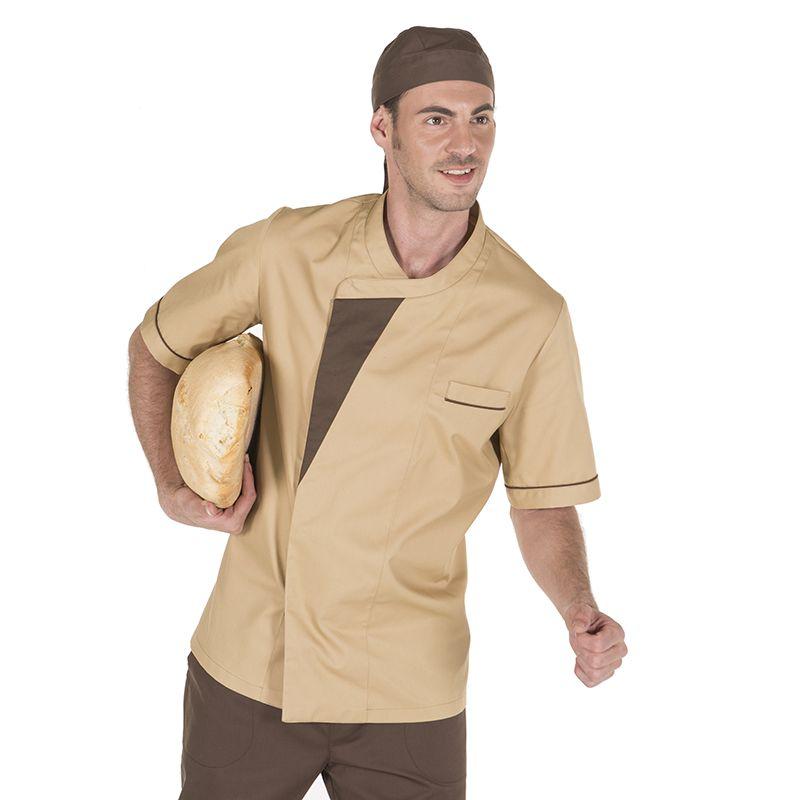 b05d6e0e674 9463 - chaqueta Egea unisex de cocina en manga corta y con botones de  presión ocultos. De color crema combinado con marrón. #uniformes #hornos  #panadería # ...