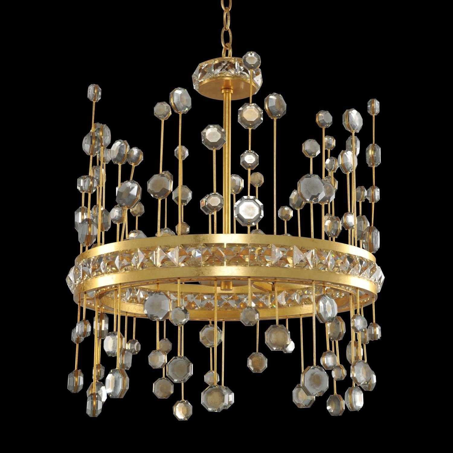 Allegri fortuna gold and crystal inch led pendant crystals