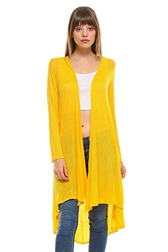 04e0dc2d6d Frumos Womens Open Front Drape Long High Low Cardigan Made In USA ...