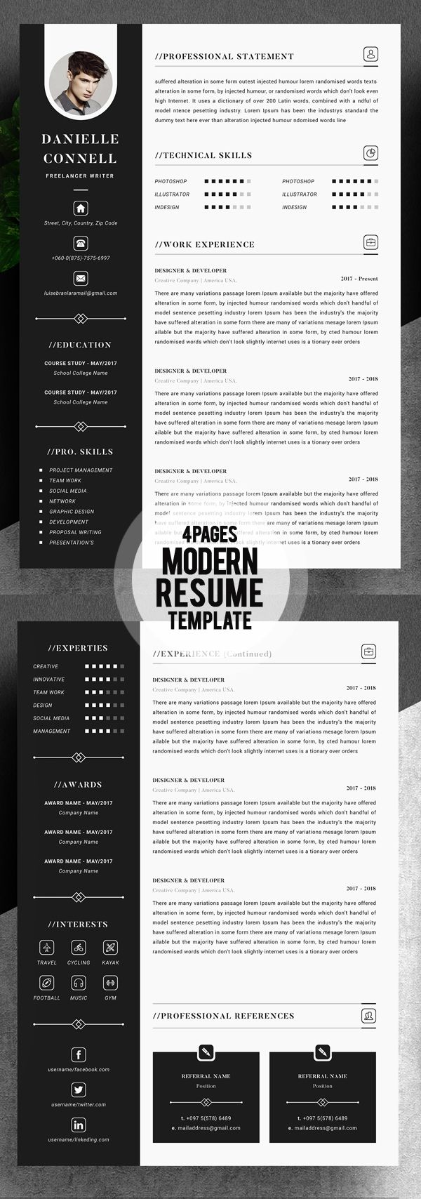 Basic Resume Template 2018 Modern Resume Template 2018 4 Pages #photoshopresume