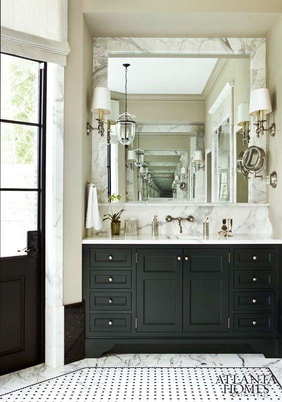 marble framed mirror, sink console & back marble splash, door ...