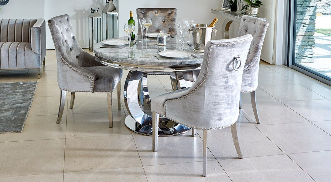 Oracle 130cm Round Grey Marble Dining Table 4 Parker Grey Velvet