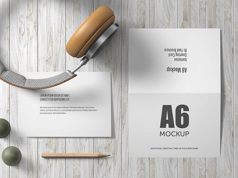 A6 BiFold Greeting Card Mockup Greetings, Greeting