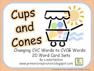 FREE - card game set for matching cvc words to correponding cvce words