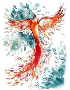 phoenix bird watercolor - Google претрага
