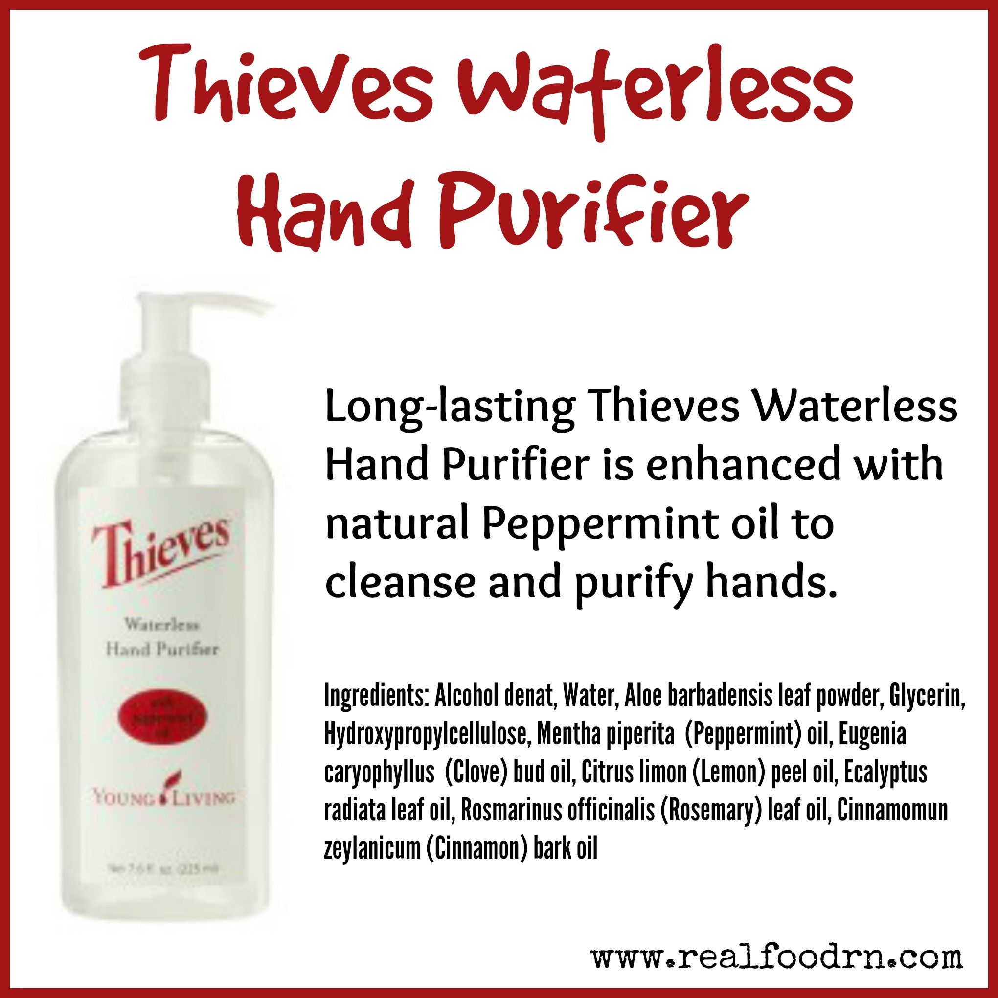 Thieves Waterless Hand Purifier Hand Sanitizer Essential Oils