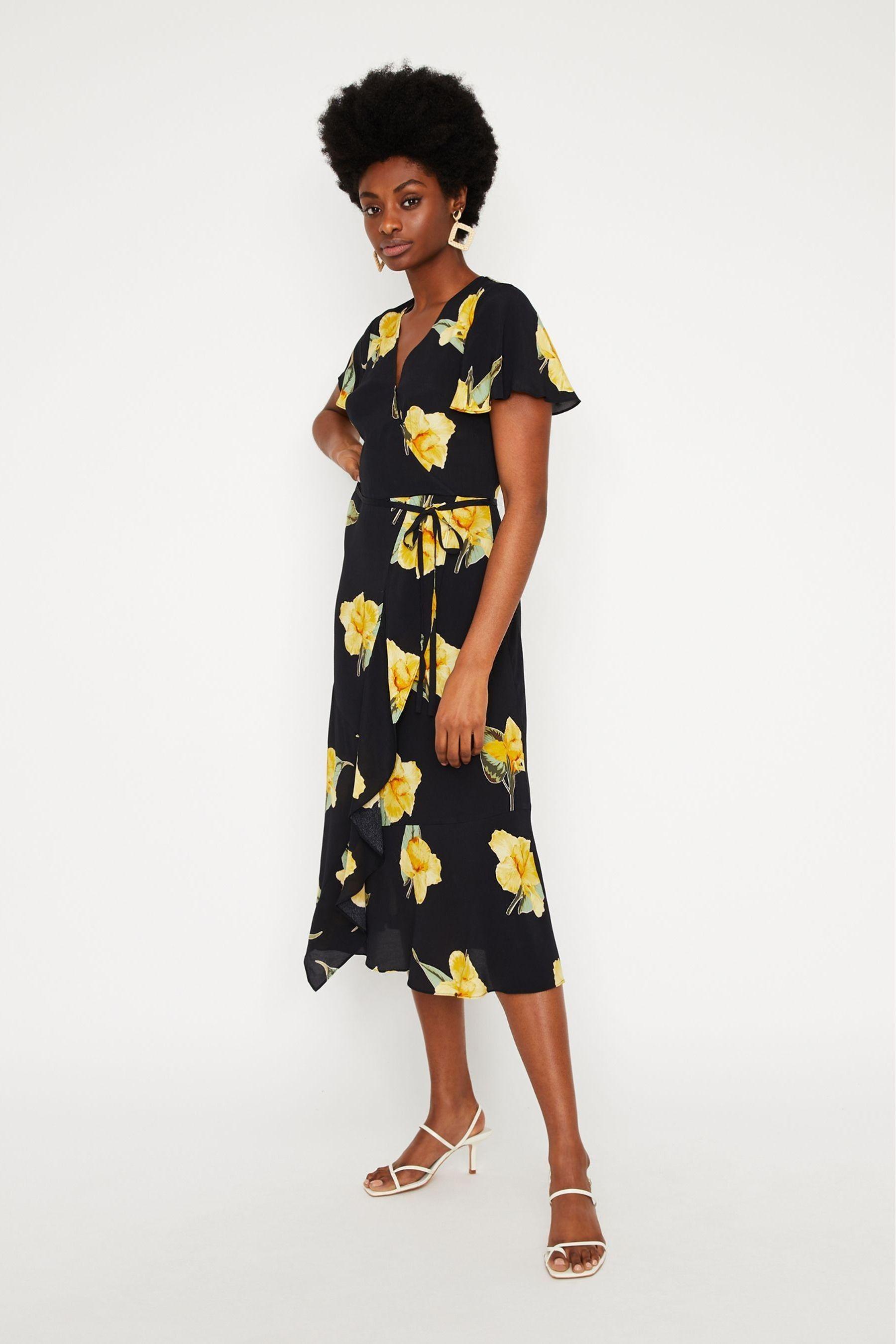 576e6cdc6ada7 Womens Warehouse Black/Yellow Floral Midi Wrap Dress - Black in 2019 ...