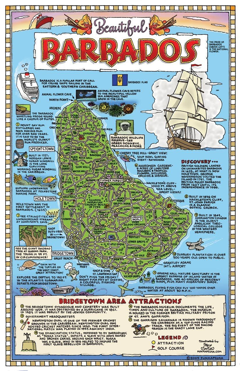 Check out this map of Beautiful Barbados with tidbits of