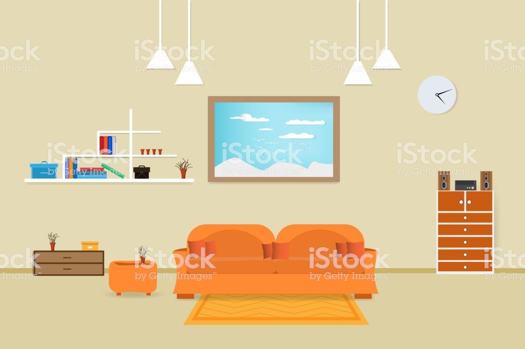 Interior Living Room Design Relax With Sofa Orange And Bookshelf