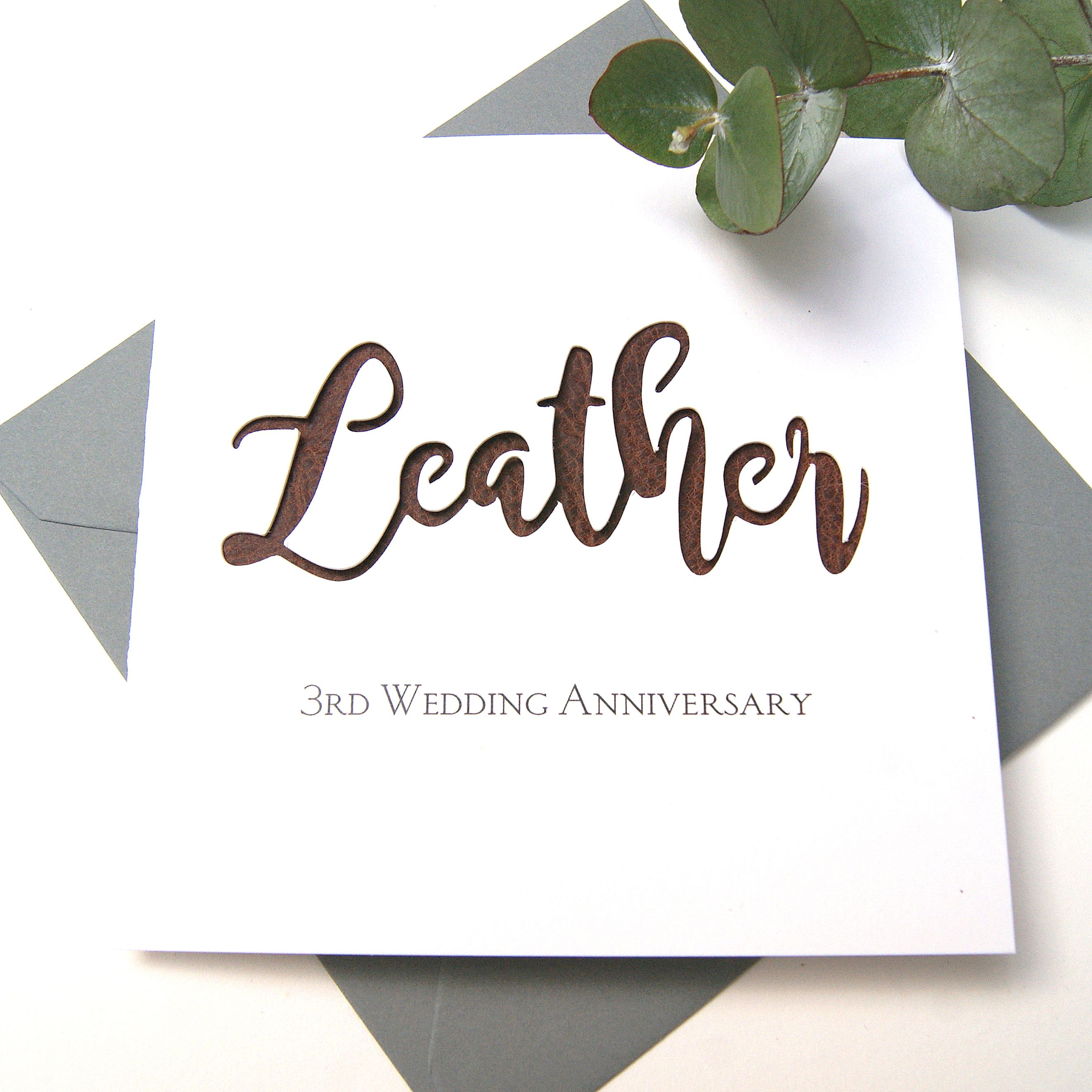 leather 3rd wedding anniversary card  shop online
