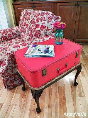 The Traveler At Artsy Va Va   Vintage Suitcase Side Table Featured On Funky  Junk Interiors. I Wonder If I Can Do This With My Old Trunk Suit Case