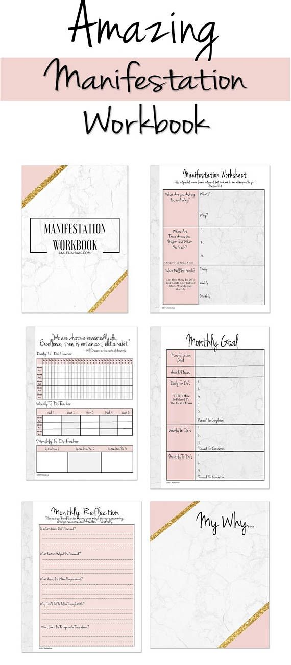 Amazing Manifestation Workbook Planner Insert Or Standalone - free action plans