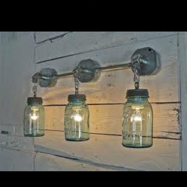 DIY Mason Jar Lights .. bathroom light fixture idea!