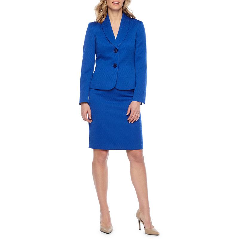 Le Suit Womens Petite Flyaway Jacket Skirt Suit