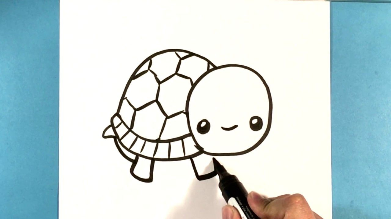 How To Draw A Turtle For Beginners Step By Step Cute Animals