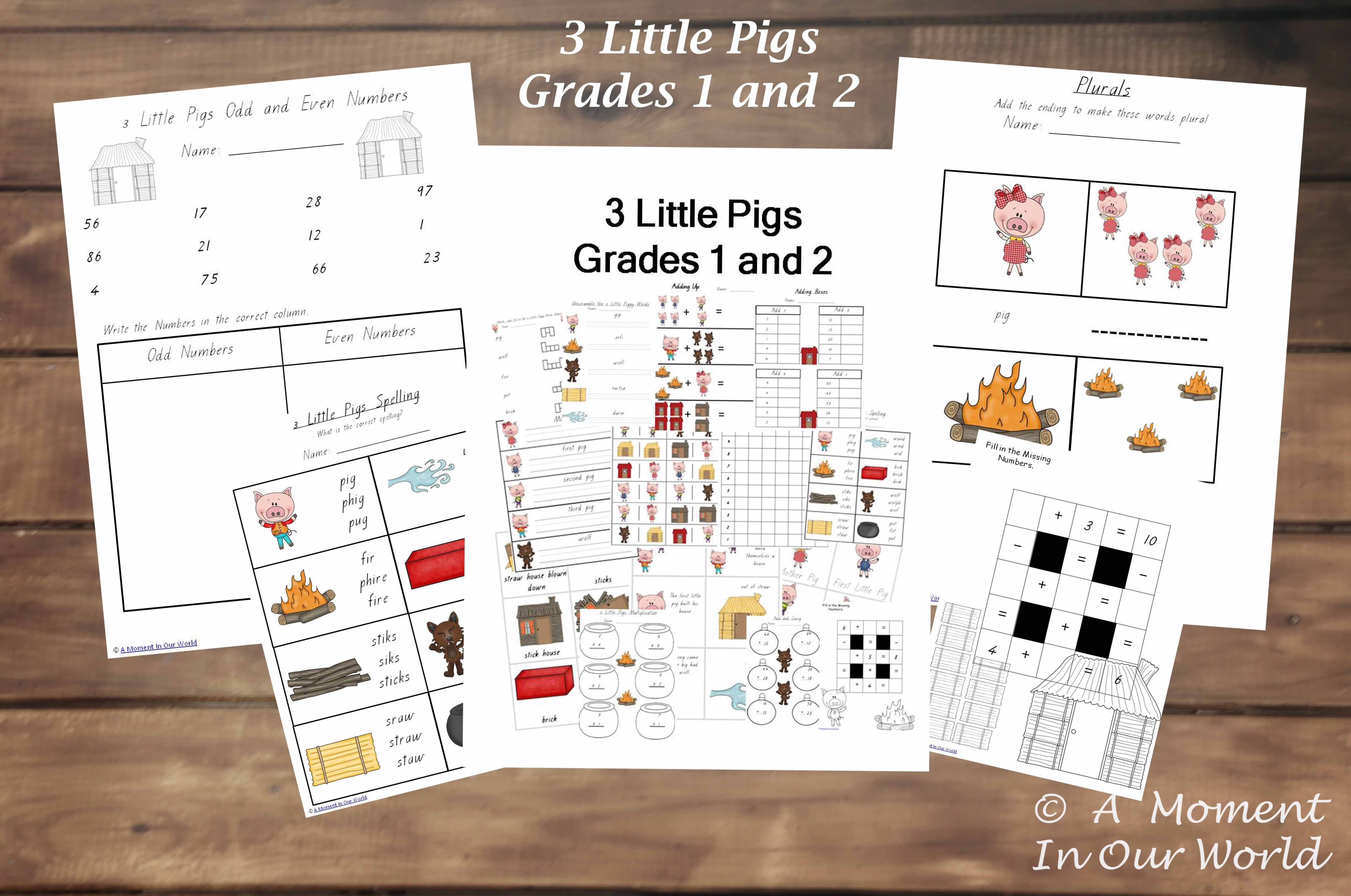 3 Little Pigs Pack For Grades 1 And 2 Pages Include Word