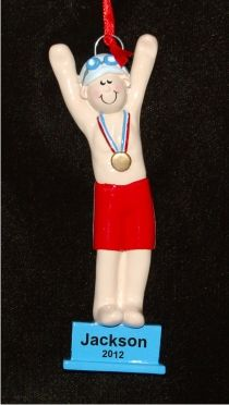 On the Blocks: Male Swimmer Christmas Ornament | Male swimmers