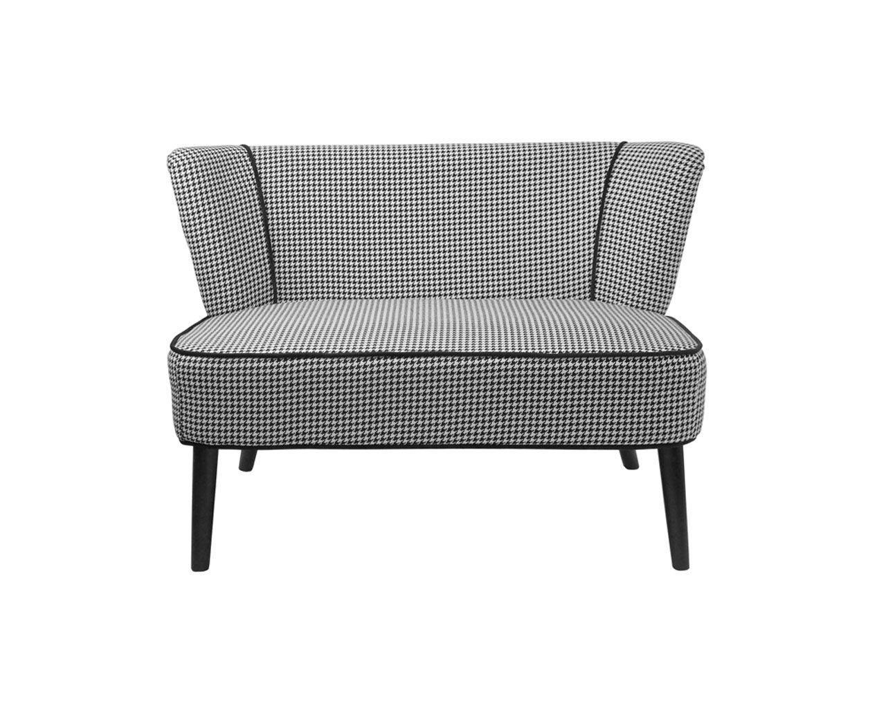 canap 2 places tissu vence pied de poule ray noir blanc. Black Bedroom Furniture Sets. Home Design Ideas