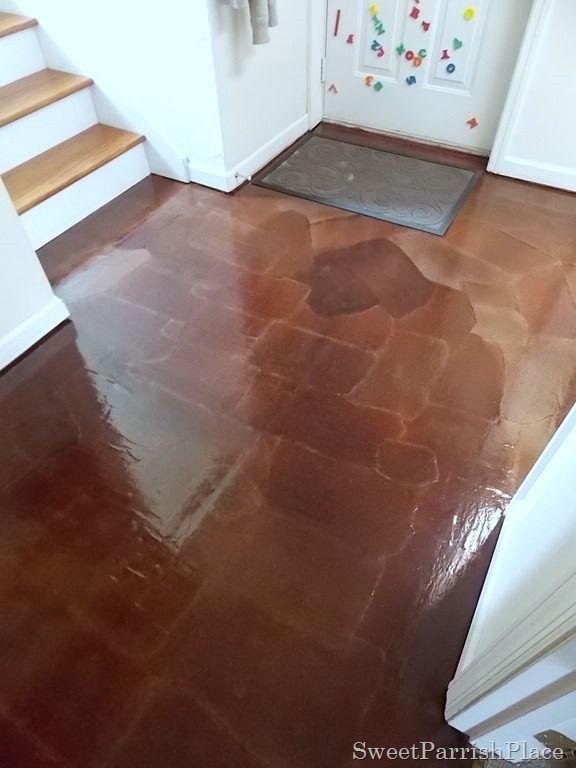Diy Brown Craft Paper Flooring Looks Like Wood Or Tile For Way