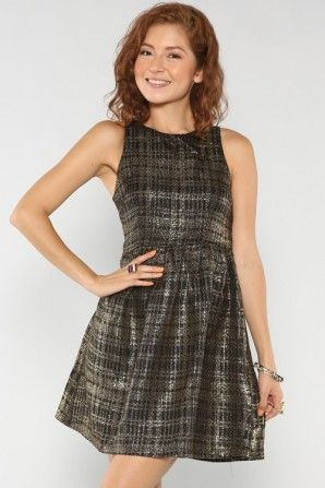 """Metallic Tweed Dress It's a good thing I was born a girl, otherwise I'd be a drag queen."""" #fallfashion #salediemlovesfashion Shipping is FREE!!"""