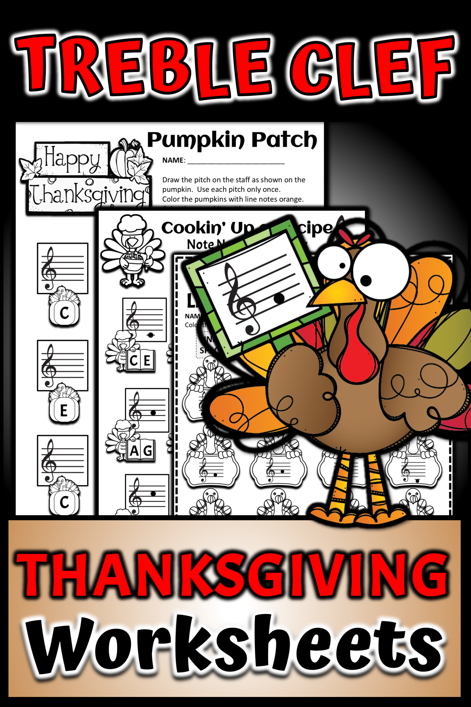 Turkey Time Note Name Worksheets Treble Clef Bass Clef
