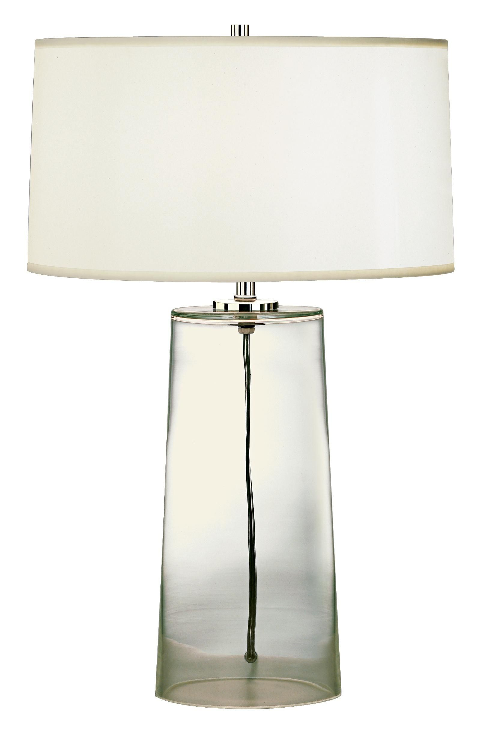 Robert Abbey Clear Glass Base With White Shade Table Lamp 22 Table