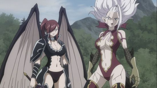 Erza And Mirajane Power Up Erza Scarlet Mirajane is a slim young woman of below average height. erza scarlet