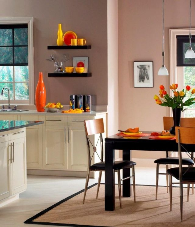 wandfarbe-kueche-altrosa-ideen-orange-akzente | Wohnzimmer farbe ...
