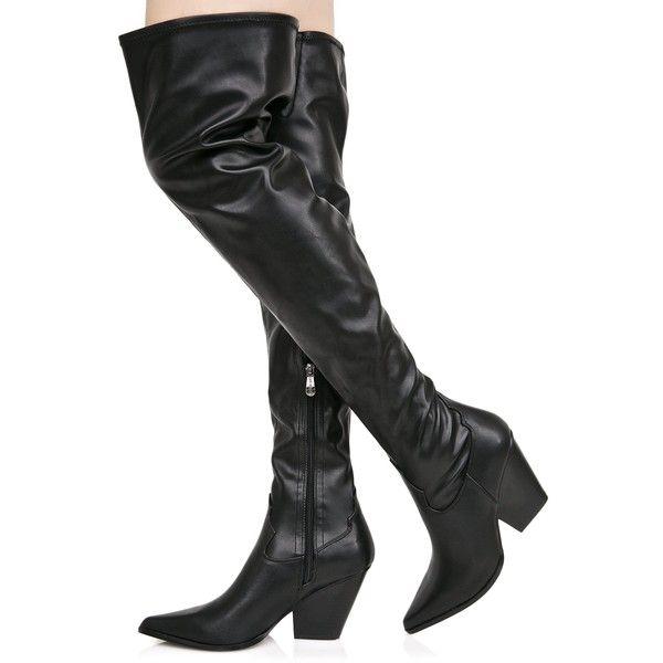 Vegan Leather Thigh High Cowboy Boots
