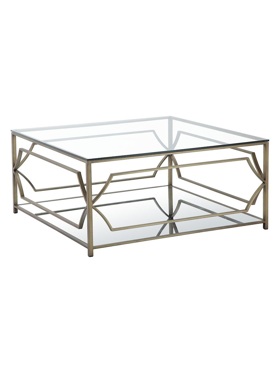 Rustique By Pangea Home Edward Glass Top Coffee Table