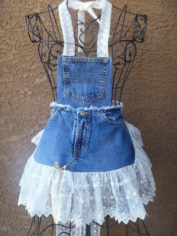 Adorable lace jeans apron