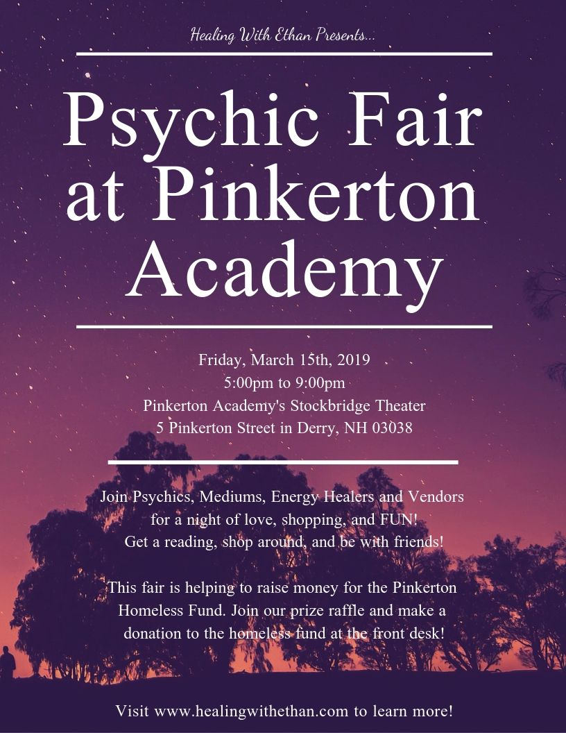 Psychic Fair at Pinkerton Academy on Friday March 15, 2019 from 5