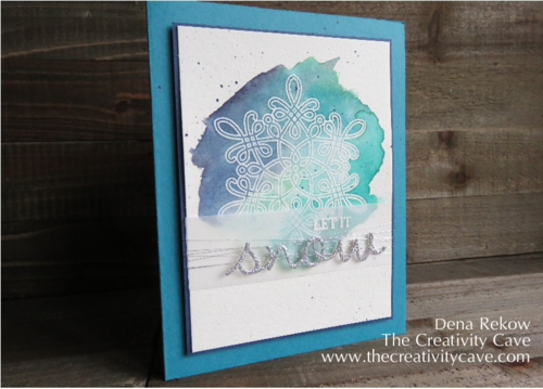 Stampin Up's Flurry of Wishes Embossed with watercolor wash - SU - Winter
