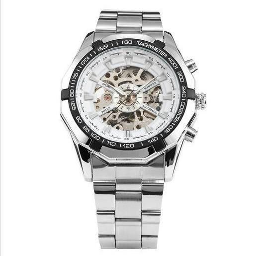 Forsining Silver Skeleton Automatic Watch