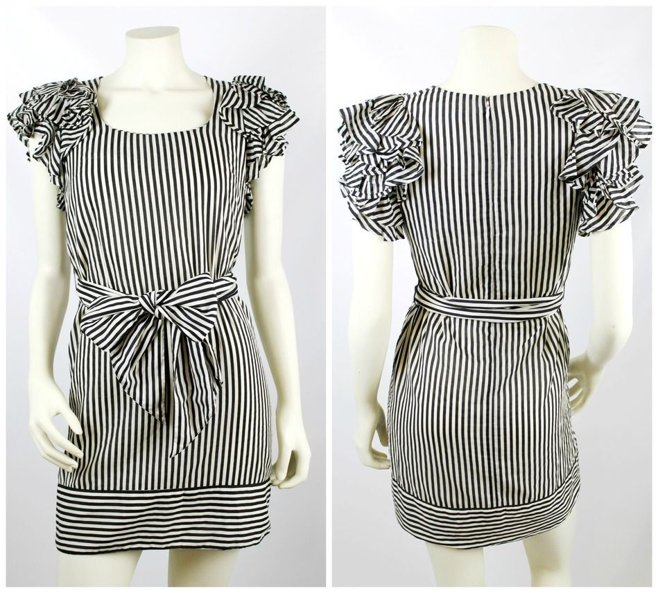 6ee6ad96 French Connection Black White Candy Stripe Ruffle Sleeve Tie Waist Dress  Size 4 #FrenchConnection #Cocktail